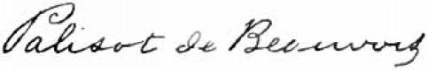 Palisot Beauvois signature