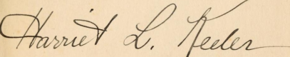Harriet L. Keeler signature