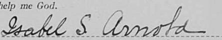 Isabel Swartwood Arnold signature